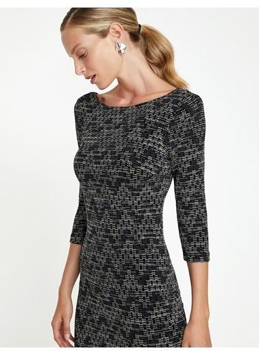 Koton Geometrik Desenli Triko Elbise Siyah